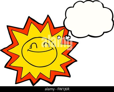 happy freehand drawn thought bubble cartoon sun - Stock Image
