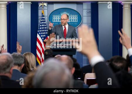 Acting Director of the Office of Management and Budget Russell Vought holds a press conference in the James S. Brady Press Briefing Room of the White House March 11, 2019 in Washington, DC. - Stock Image