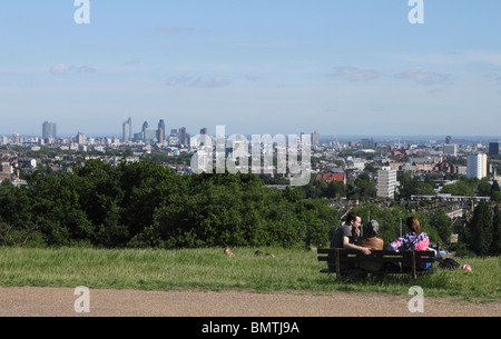 London cityscape view from Parliament Hill Hampstead Heath summer 2010 - Stock Image