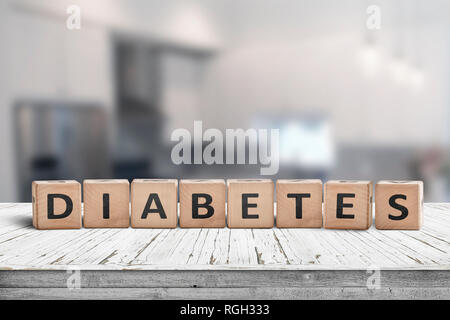 Diabetes disease sign on a table in a bright kitchen in daylight - Stock Image