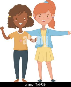 Teenager girls design, Friends female people young teen beautiful and woman theme Vector illustration - Stock Image