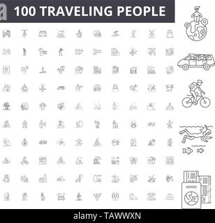 Traveling people line icons, signs, vector set, outline illustration concept  - Stock Image