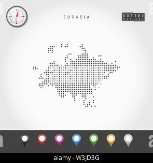 Dots Map of Eurasia. Simple Silhouette of Eurasia. Realistic Vector Compass. Set of Multicolored Map Markers. Vector Illustration. - Stock Image