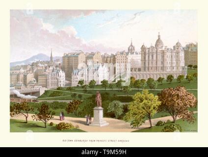 Vintage print of Old Town Edinburgh from Princes Street Gardens circa 1880 - Stock Image