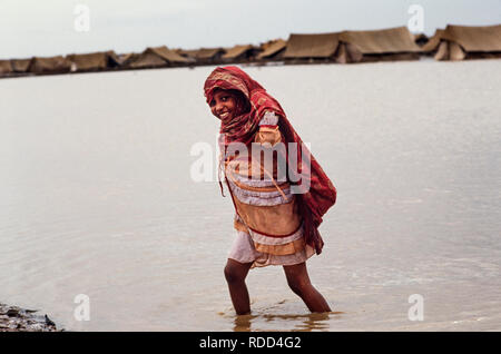 Sudan Girba refugee camp Sudan, Africa during the famine of 1985 Girba Camp was near Kassala in Eastern Sudan and took in victims of the famine and war in Ethiopia - Stock Image
