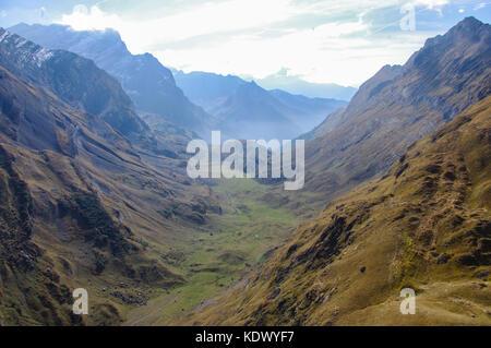 Swiss Alps mountain valley view in Vaude, Switzerland. - Stock Image