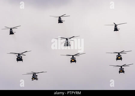 Nine helicopters over The Mall on RAF 100 Day, Central London, UK - Stock Image
