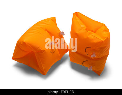Two Orange Arm Swim Floats Isolated on White Background. - Stock Image