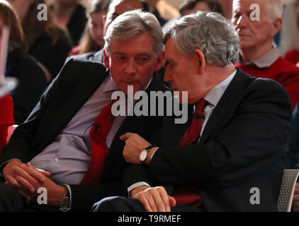 Former prime minister Gordon Brown chats with Scottish Labour leader Richard Leonard ahead of speaking at a campaign rally for the European Elections at the Lighthouse in Glasgow. - Stock Image