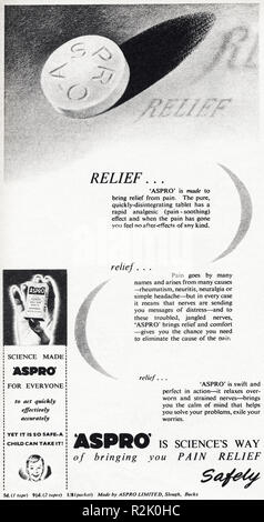 Original 1950s vintage old print advertisement from English magazine advertising ASPRO pain relief tablets circa 1954 - Stock Image