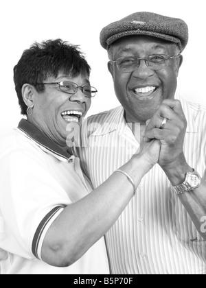 Elderly African-American couple dancing - Stock Image