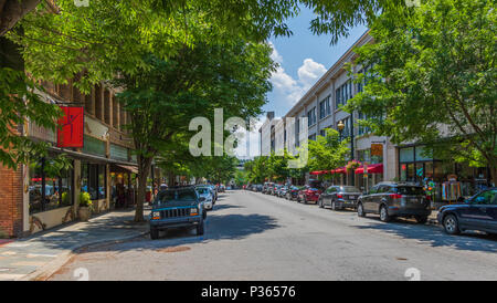 ASHEVILLE, NC, USA-10 JUNE 18:  A sunny Haywood St. on an early summer Sunday. - Stock Image