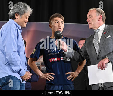 Glasgow, UK. 17th May, 2019. Naoya Inoue (JPN) Boxing : Naoya Inoue of Japan is interviewed during the official weigh-in for the IBF bantamweight title bout, Semi-finals of the World Boxing Super Series - Bantamweight tournament, in Glasgow, Scotland . Credit: Hiroaki Yamaguchi/AFLO/Alamy Live News - Stock Image
