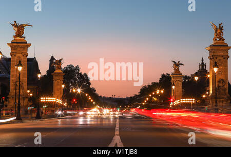 The famous Alexandre III bridge at sunset, Paris, France - Stock Image