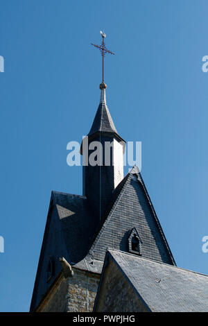 Seine et Marne. Nangis. Church Saint Martin and Saint Magne (13th century). The bell tower. - Stock Image