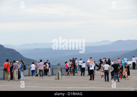 KATOOMBA, Australia - Tourists look out over the Blue Mountains as seen from Echo Point in Katoomba, New South Wales, - Stock Image