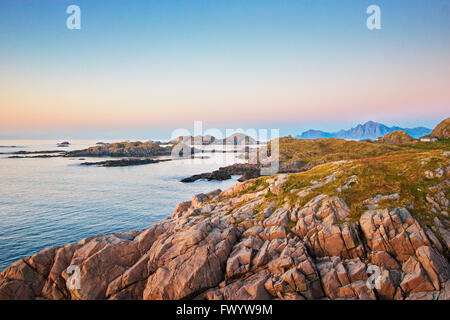 The rocky coast of the North Atlantic near Hovden on island  Langøya (Vesterålen) in northern Norway. - Stock Image