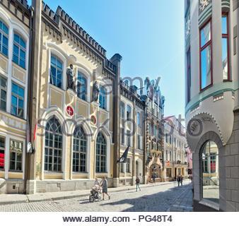 Pikk ( Long )Street in Tallinn medieval old town, Estonia, Europe. - Stock Image