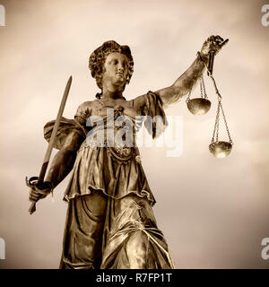 Justicia sculpture, part of justice fountain at Römer in Frankfurt City, Germany - Stock Image