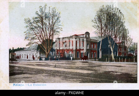 Malaga, a port city on southern Spains Costa del Sol - The Main Station.     Date: circa 1904 - Stock Image