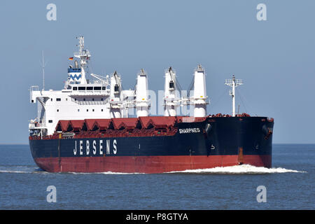 Bulkcarrier Sharpnes heading for the Kiel Canal - Stock Image