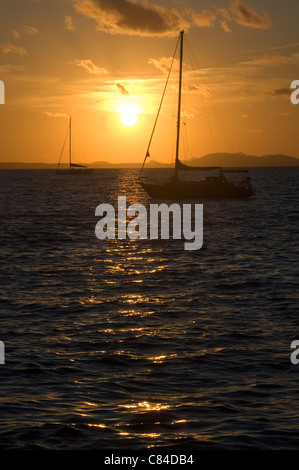 Mallorca, Bay of Palma, yachts at sunset - Stock Image
