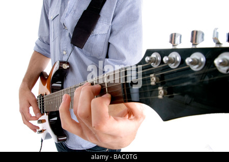 rock star holding guitar - Stock Image