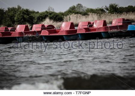 The pedal boats at Altmühlsee - Stock Image
