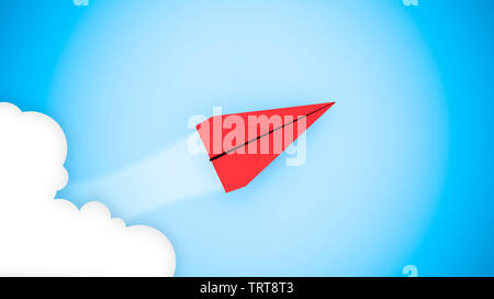 Business success concept: red paper plane flying on sky between cloud. 3D rendering - Stock Image