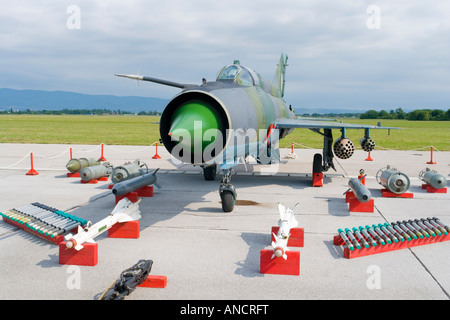 Croatian Air Force MiG-21 'BISD fighter parked on display with optional ordnance - Stock Image