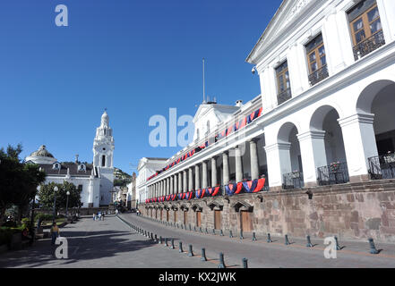 Carondelet Palace, Palacio de Carondelet, which houses government offices and presidential quarters and Quito Cathedral, - Stock Image