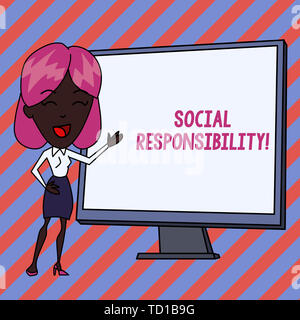 Conceptual hand writing showing Social Responsibility. Concept meaning Obligation for the Benefit of Society Balance in life White Female in Standing  - Stock Image