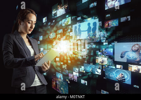 Young woman in cyberspace. - Stock Image