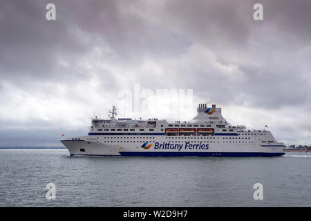 Normandie, Brittany Ferry leaving Portsmouth to France. - Stock Image
