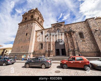 Cusco, Peru - January 2, 2017. View of the traffic in front Santo Domingo church in the Qorikancha temple, Cusco - Stock Image