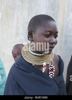 TANZANIA  -  photo by Sean Sprague 2018  Watatulu tribe members visiting Bukundi. - Stock Image