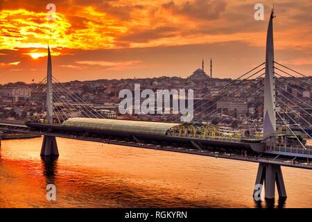Golden Horn Metro Bridge, Istanbul, Turkey - Stock Image