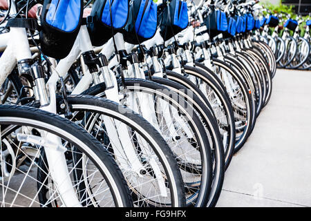 Rental bikes in a row at an outdoor bicycle rental business - Stock Image