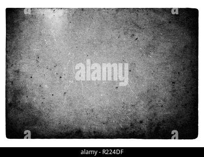Black and white film frame with light leaks and grain isolated on white background - Stock Image