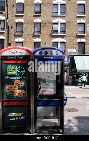 Public telephone boxes Charing Cross Road London - Stock Image