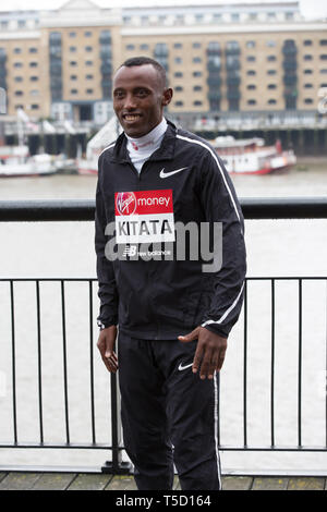 London,UK,24th April 2019,Shura Kitata(ETH) attends The London Marathon Elite Mens Photocall which takes place outside the Tower Hotel with Tower Bridge in the background ahead of the Marathon on Sunday. Credit: Keith Larby/Alamy Live News - Stock Image