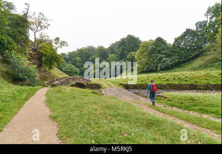 A hiker walking in the English countryside on an overcast summers day in the UK. - Stock Image