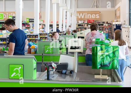Asda checkouts, Asda supermarket, Asda, Bury St Edmunds, Suffolk UK - Stock Image
