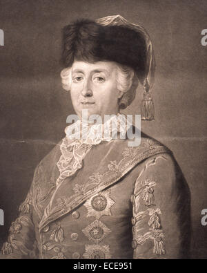 Portrait of Catherine II, also known as Catherine the Great (1729 – 1796).  Catherine II was the most renowned and - Stock Image