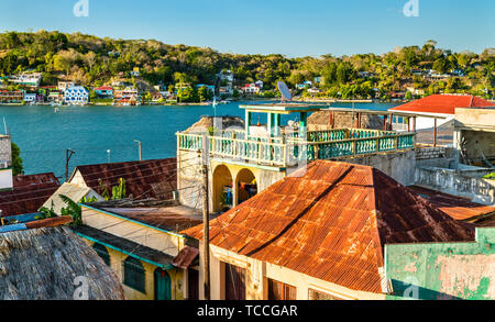 Aerial view of houses in Flores, Guatemala - Stock Image
