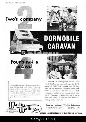 1960 advertisement for Dormobile Motorized Caravans caravanettes conversions from Bedford Vans  FOR EDITORIAL USE - Stock Image