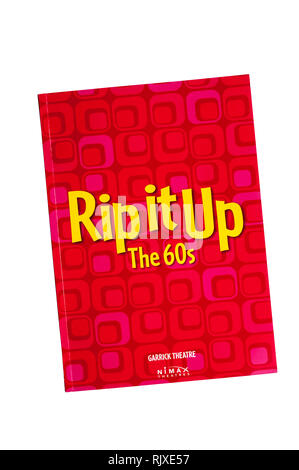 Programme for the 2019 production of Rip it Up The 60s at the Garrick Theatre.  Featuring dance and music from the 1960s. - Stock Image