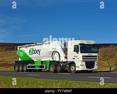 Abbey Logistics Group Tanker. M6 Motorway Southbound carriageway, Shap, Cumbria, England, United Kingdom, Europe. - Stock Image