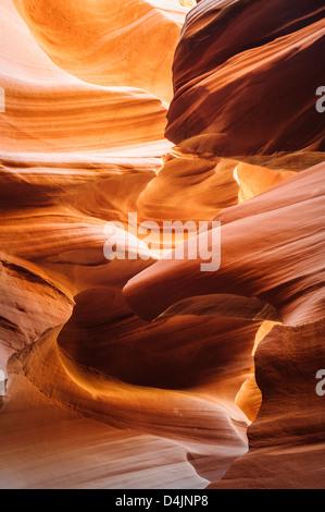 Glowing sandstone in Lower Antelope Slot Canyon, Page, Arizona, USA - Stock Image