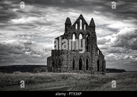 Monochrome image of Whitby Abbey, East Cliff, Whitby, North Yorkshire, England, UK - Stock Image